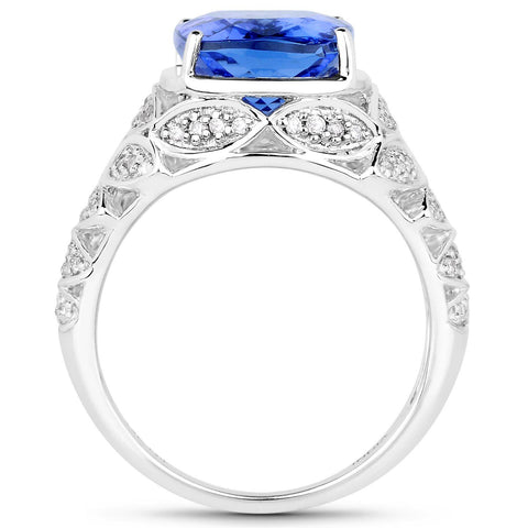 Cushion-Cut Tanzanite and Diamond Micopavé Ring in 14K White Gold