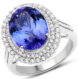 Oval Tanzanite and Diamond Micropavé Double Halo Ring in 14K White Gold