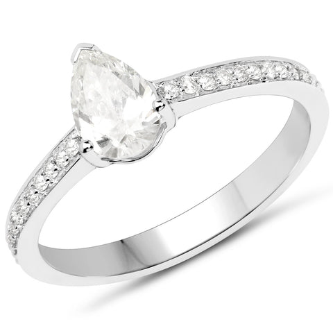 Diamond Pear and Micropavé Ring in 14K White Gold