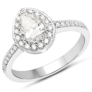 Diamond Pear Halo Ring in 14K White Gold