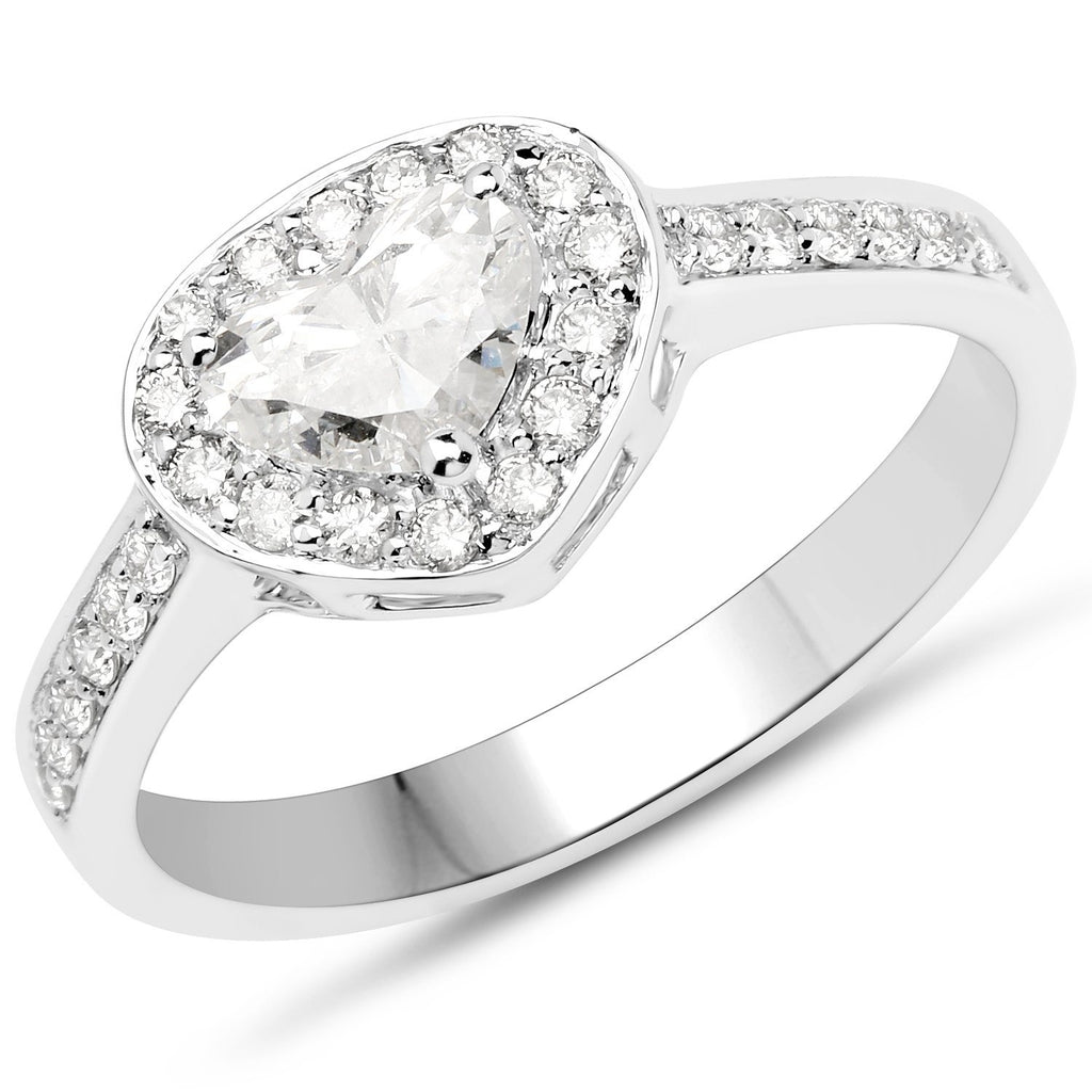 Heart and Micropavé Diamond Ring in 14K White Gold