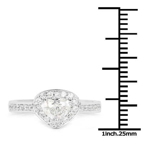 Image of Heart and Micropavé Diamond Ring in 14K White Gold