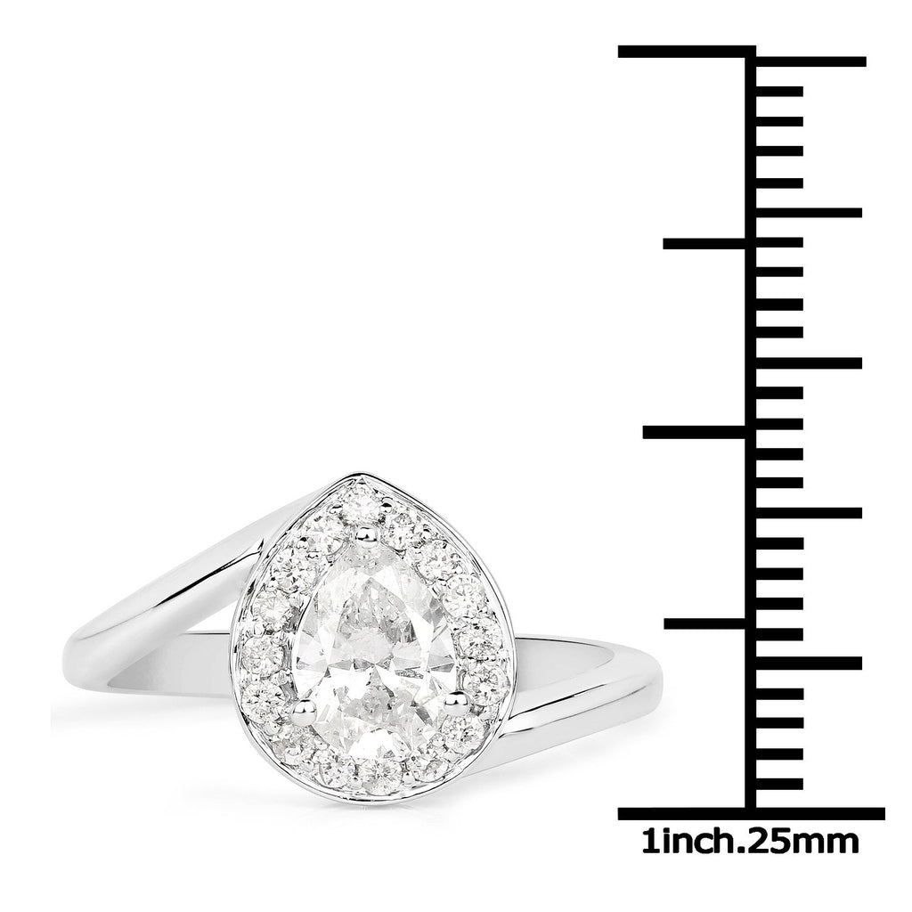 Pear Diamond Twist Ring in 14K White Gold