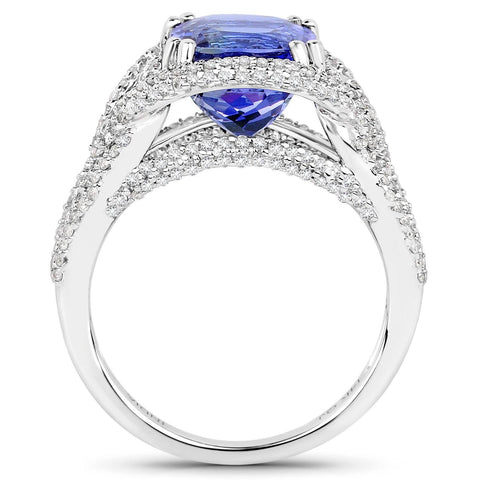 Cushion-Cut Tanzanite and Diamond Micropavé Art Deco Ring in 14K White Gold