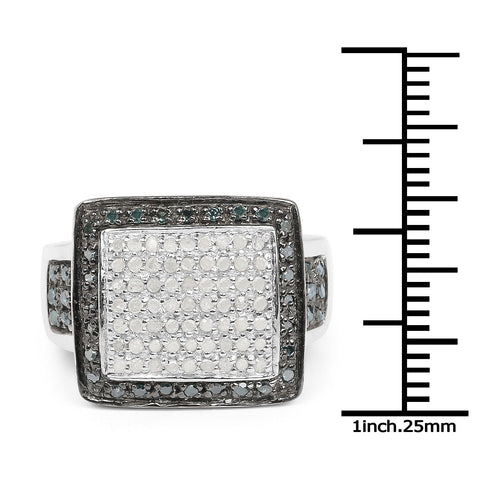 White Diamond Micropavé and Blue Diamond Halo Cocktail Ring in Sterling Silver