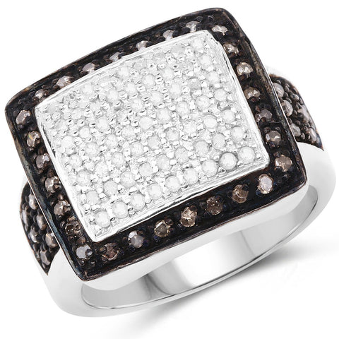 White Diamond Micropavé and Champagne Diamond Halo Cocktail Ring in Sterling Silver