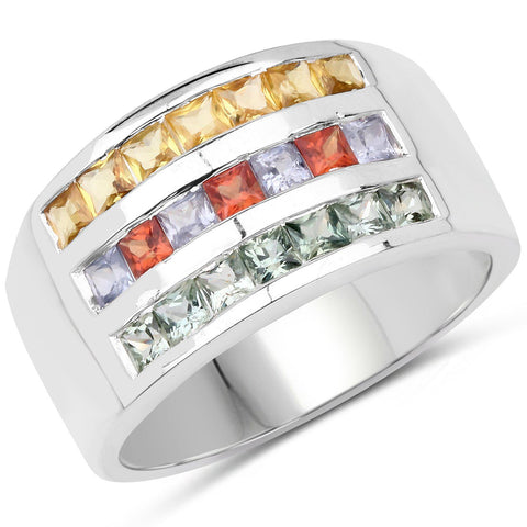 Image of Multi Sapphire Micropavé Ring in Sterling Silver