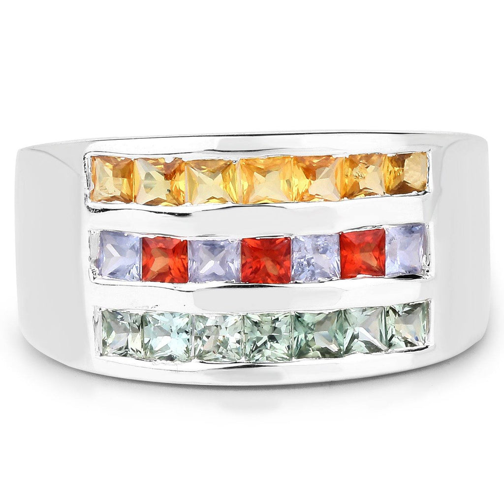 Multi Sapphire Micropavé Ring in Sterling Silver