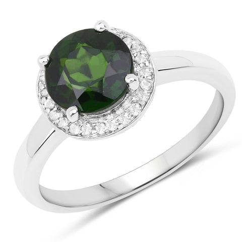 Round Chrome Diopside and White Topaz Micropavé Ring in Sterling Silver