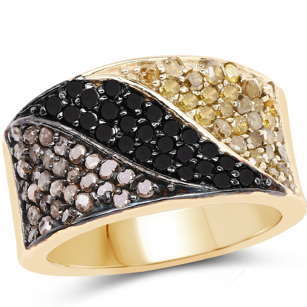 Champagne, Black and Yellow Diamond Ring in 14K Yellow Gold Plated Sterling Silver