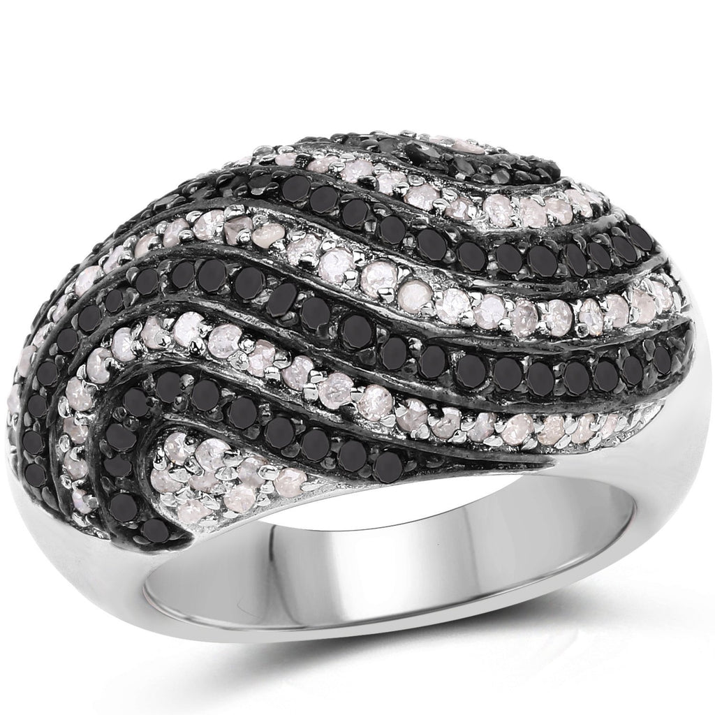Black and Diamond Micropavé Ring in Sterling Silver