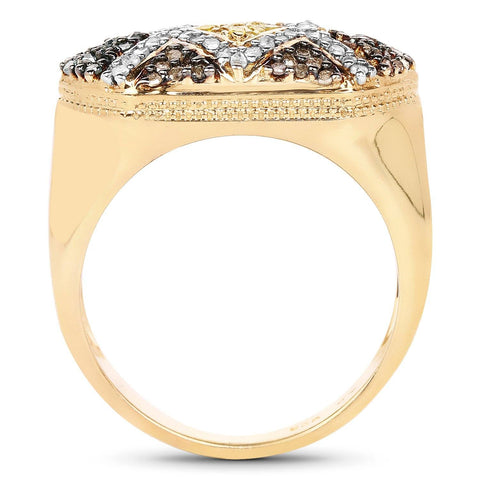 Image of Multi Diamond Ring in 14K Gold Plated Sterling Silver