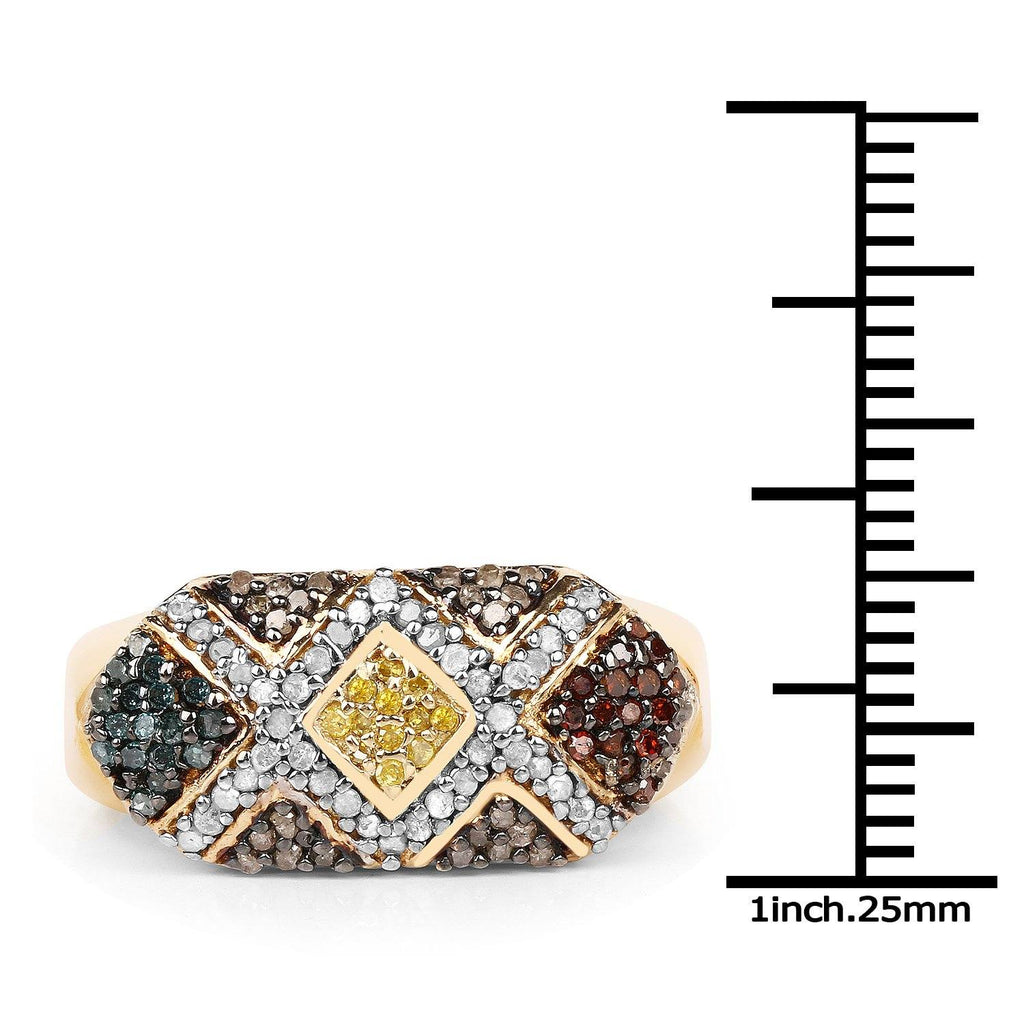Multi Diamond Ring in 14K Gold Plated Sterling Silver
