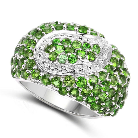 Image of Round Chrome Diopside Micropavé Ring in Sterling Silver