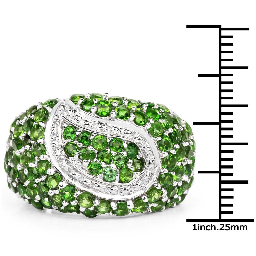 Round Chrome Diopside Micropavé Ring in Sterling Silver