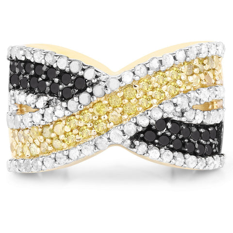 Black, Yellow and White Diamond Micropavé Infinity Ring in 14K Gold Plated Sterling Silver
