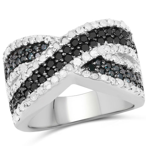 Black and Diamond Micropavé Infinity Ring in Sterling Silver