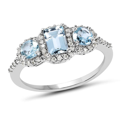 Three-Stone Aquamarine and Diamond Halo Ring in 10K White Gold