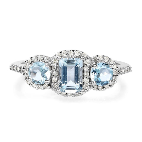 Image of Three-Stone Aquamarine and Diamond Halo Ring in 10K White Gold