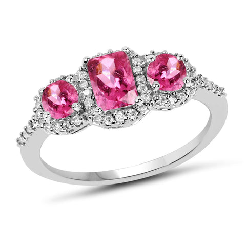 Image of Three-Stone Tourmaline Pink and Diamond Micropavé Halo Ring in 10K White Gold