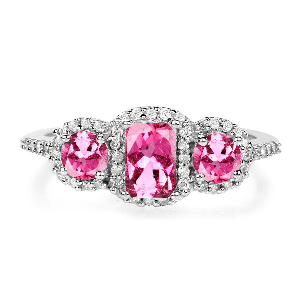 Three-Stone Tourmaline Pink and Diamond Micropavé Halo Ring in 10K White Gold