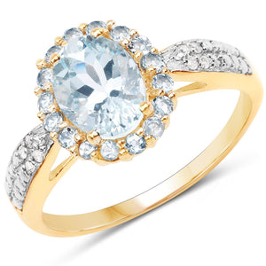 Marquise Aquamarine Halo Diamond Micropavé Ring In 10K Yellow Gold