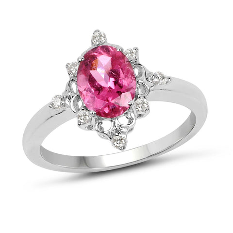 Image of Oval Tourmaline Pink and Diamond Starburst Ring in 10K White Gold