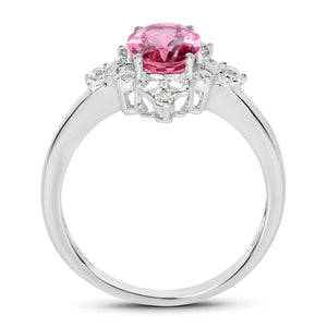 Oval Tourmaline Pink and Diamond Starburst Ring in 10K White Gold