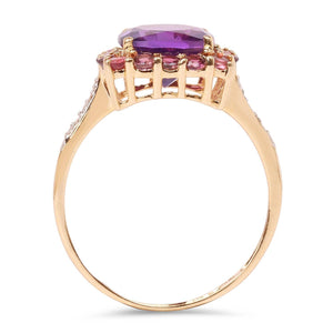 Cushion-Cut Amethyst with Pink Tourmaline and Diamond Halo Ring in 10K Yellow Gold