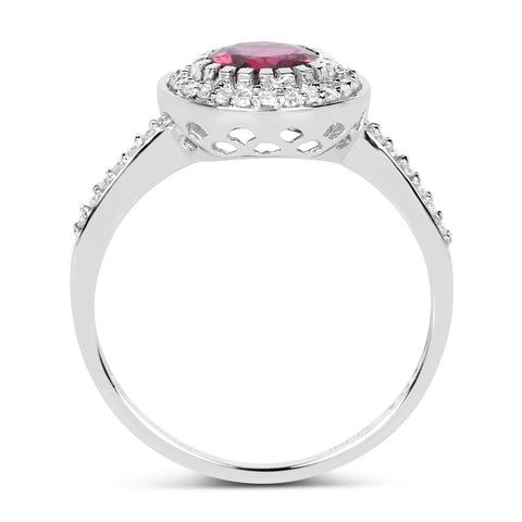Round Tourmaline Pink and Diamond Micropavé Halo Ring in 10K White Gold
