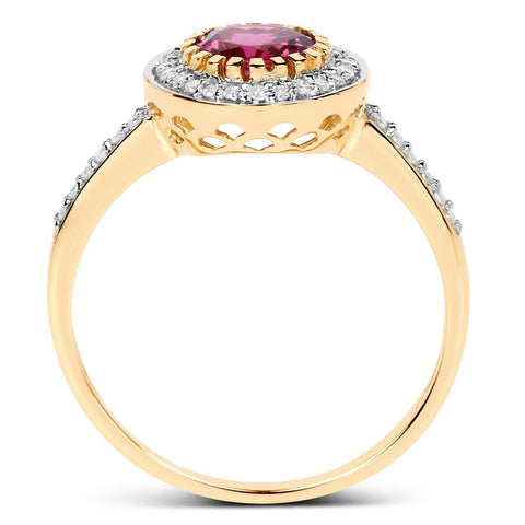 Round Pink Tourmaline Diamond Micropavé Halo Ring in 10K Yellow Gold