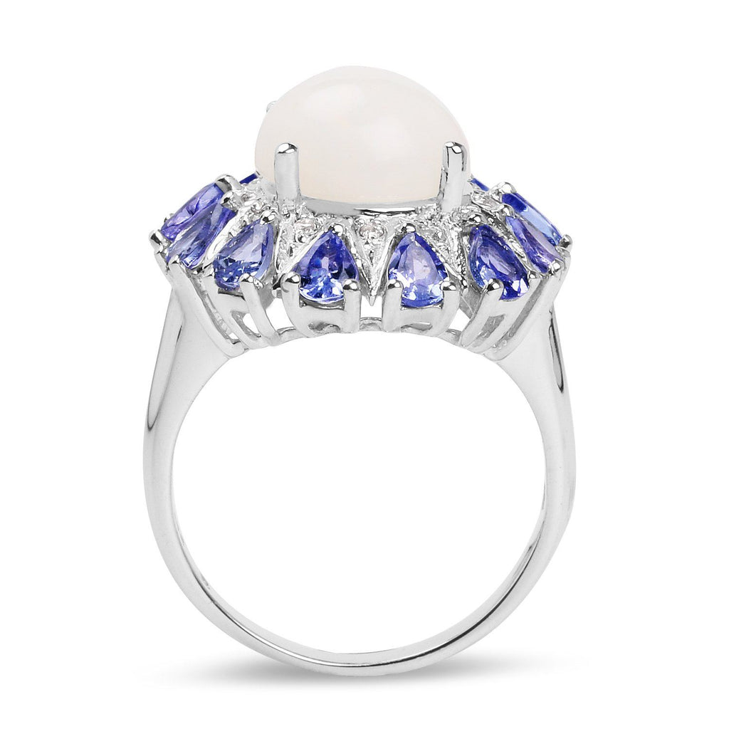 Ethiopian Opal, Diamond and Tanzanite Halo Cocktail Ring in Sterling Silver