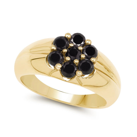Image of Black Diamond Pavé Floral Ring in 14K Gold Plated Sterling Silver
