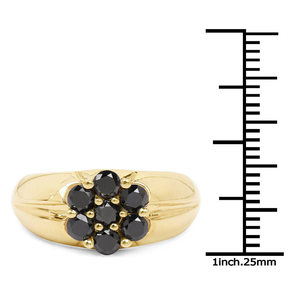 Black Diamond Pavé Floral Ring in 14K Gold Plated Sterling Silver