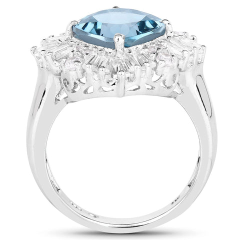 Image of East-West Cushion-Cut London Blue Topaz and White Topaz Halo Ring in Sterling Silver