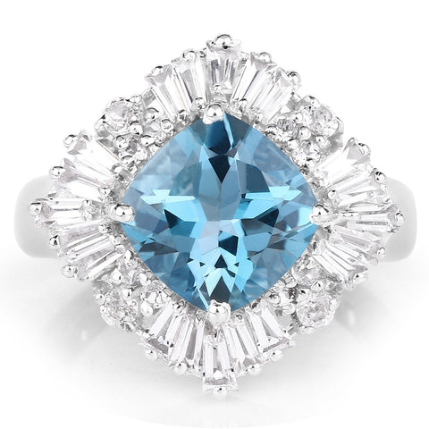East-West Cushion-Cut London Blue Topaz and White Topaz Halo Ring in Sterling Silver
