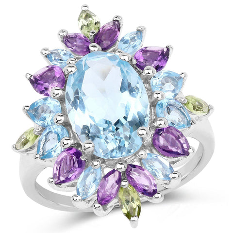 Image of Multi-Stone Topaz, Amethyst and Peridot Ring in Sterling Silver