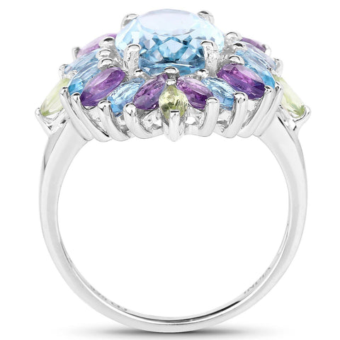 Multi-Stone Topaz, Amethyst and Peridot Ring in Sterling Silver