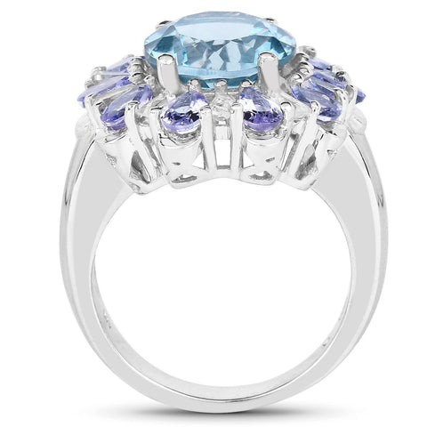 Round London Blue Topaz and Tanzanite with White Topaz Ring in Sterling Silver
