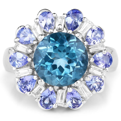 Image of Round London Blue Topaz and Tanzanite with White Topaz Ring in Sterling Silver