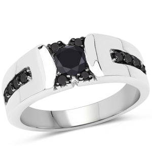 Black Diamond Micropavé Ring in Sterling Silver