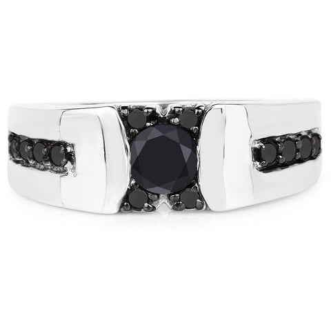 Image of Black Diamond Micropavé Ring in Sterling Silver