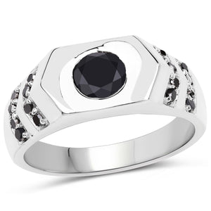 Black Diamond Ring in Sterling Silver