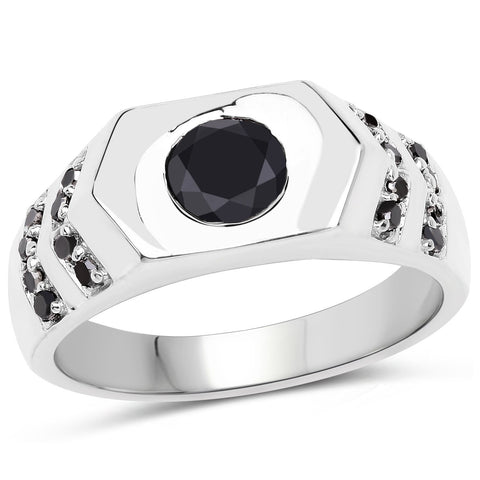 Image of Black Diamond Ring in Sterling Silver