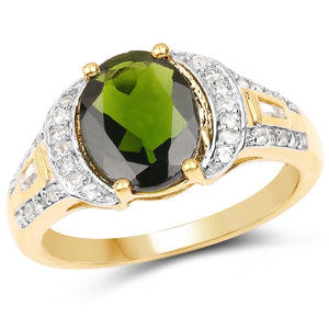 Oval Chrome Diopside and White Topaz Micropavé Ring in 18K Yellow Gold Plated Sterling Silver