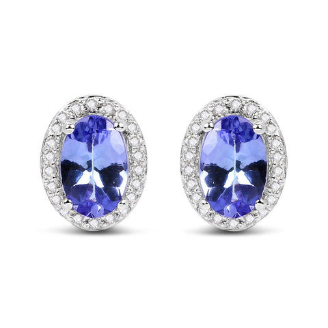 Image of Tanzanite and Diamond Ring, Pendant & Earrings Set in 14K White Gold