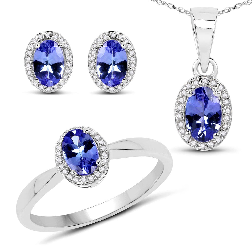 Tanzanite and Diamond Ring, Pendant & Earrings Set in 14K White Gold