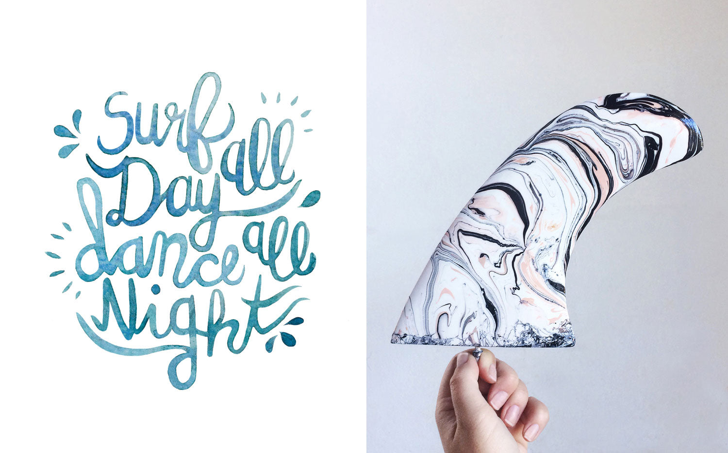 one and only illustration type design typography surf watercolour