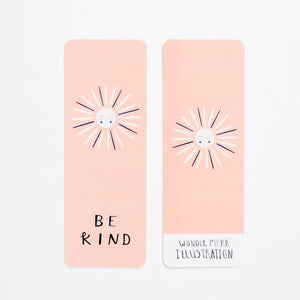 be kind book mark sun happy front back pastel