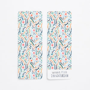 flower floral bookmark book green colourful back front